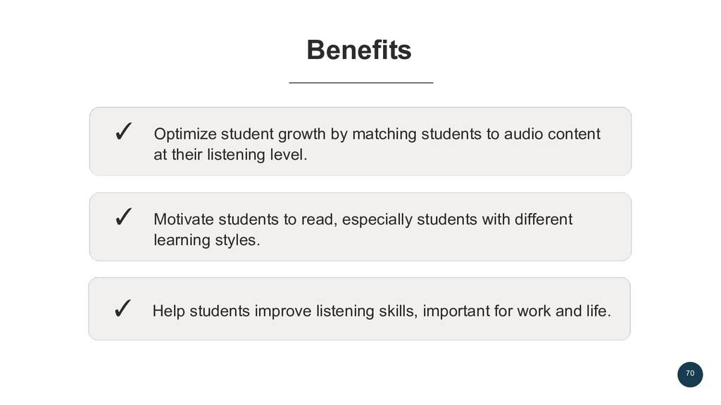 70 Benefits ✓ Optimize student growth by matchi...