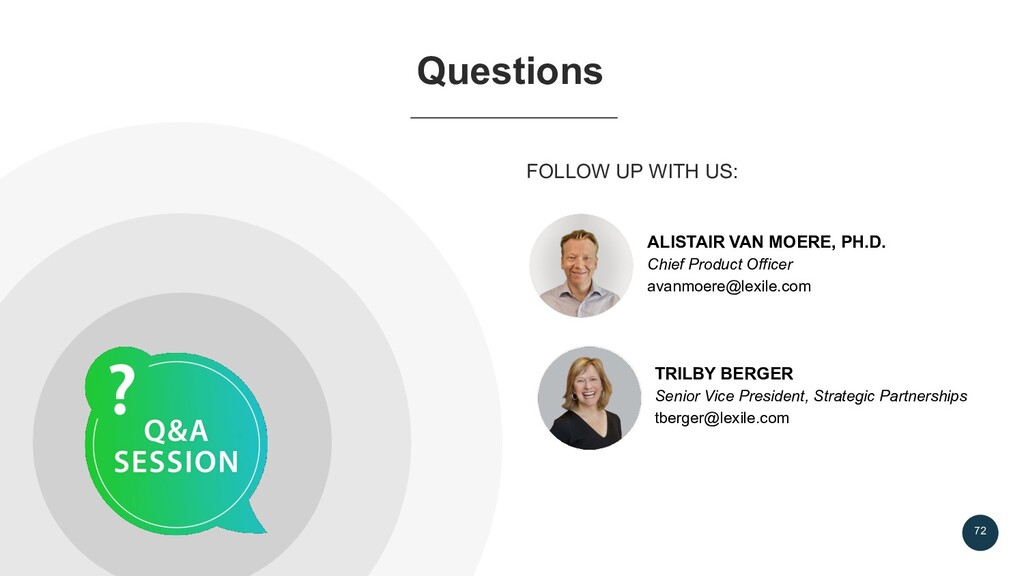 72 FOLLOW UP WITH US: Questions ALISTAIR VAN MO...
