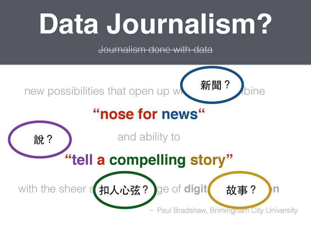 Data Journalism? Journalism done with data new ...