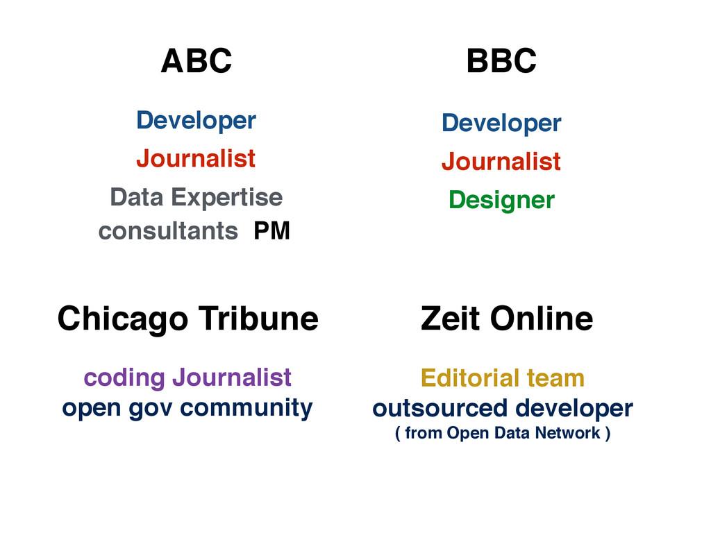 Developer Journalist Data Expertise consultants...