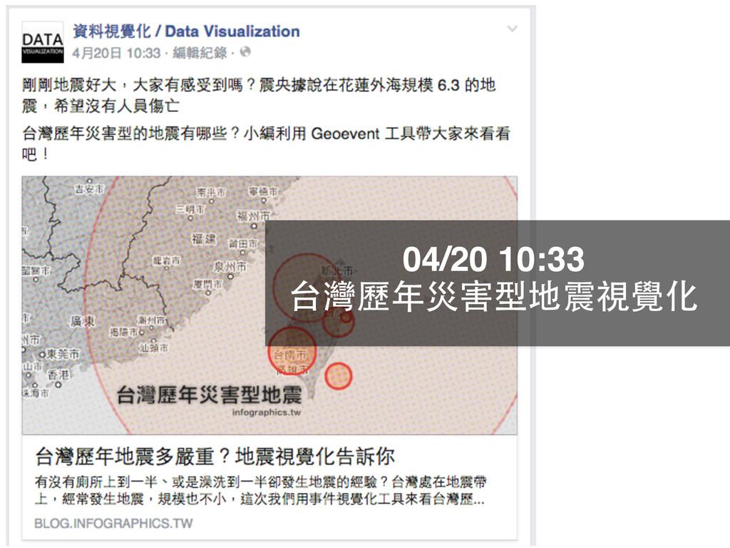 04/20 10:33 台灣歷年災害型地震視覺化