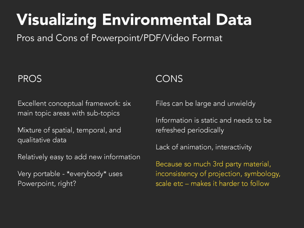 Visualizing Environmental Data PROS