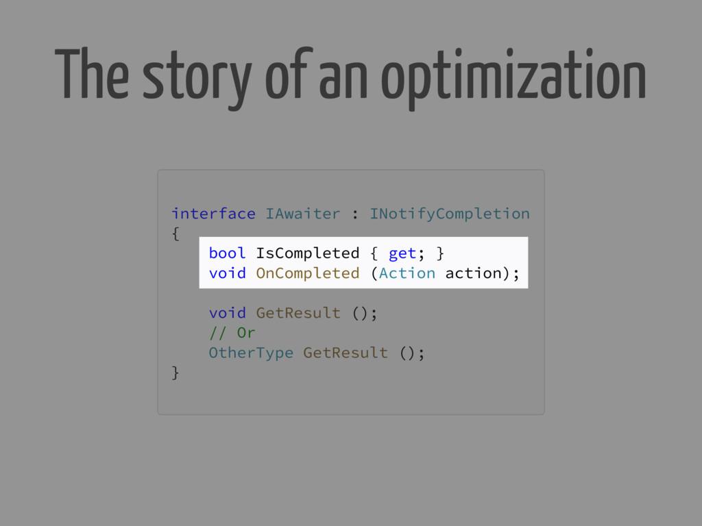 The story of an optimization interface IAwaiter...