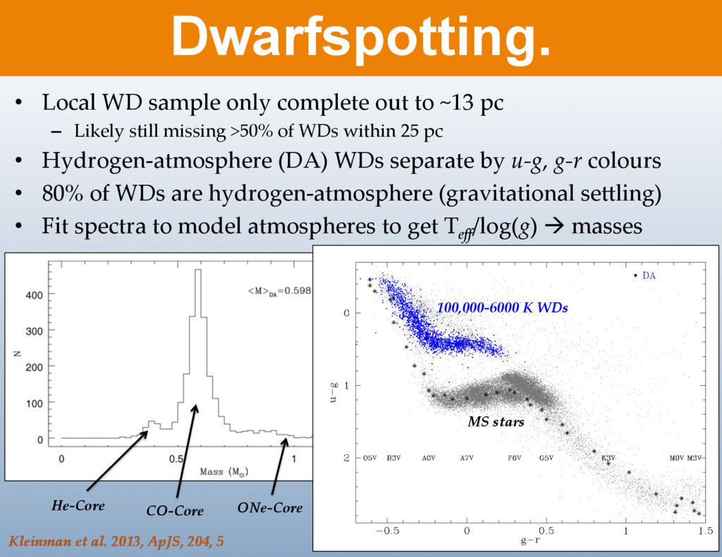 • Local WD sample only complete out to ...