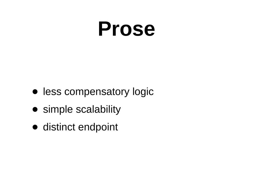 Prose • less compensatory logic  • simple s...
