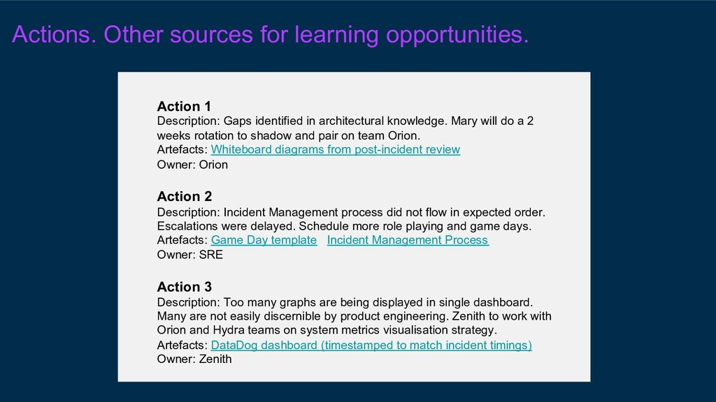 Actions. Other sources for learning opportuniti...