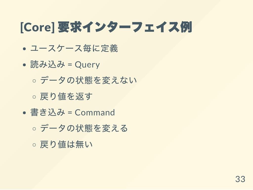 [Core] 要求インターフェイス例 ユースケース毎に定義 読み込み = Query データの...
