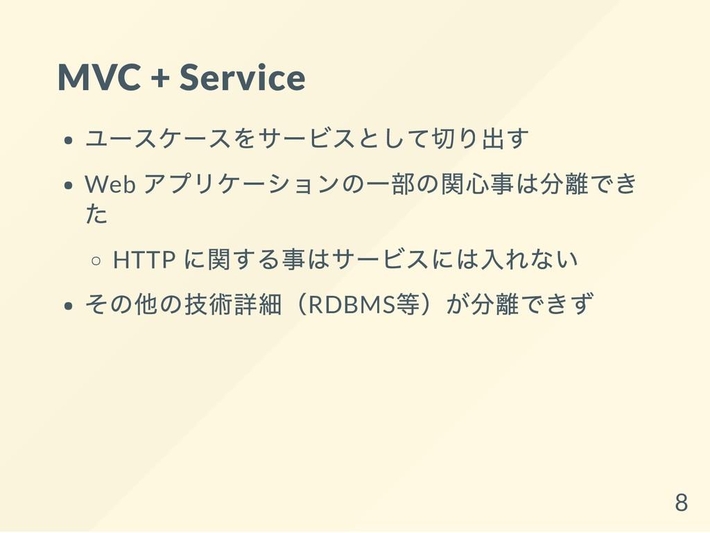 MVC + Service ユースケースをサービスとして切り出す Web アプリケーションの一...