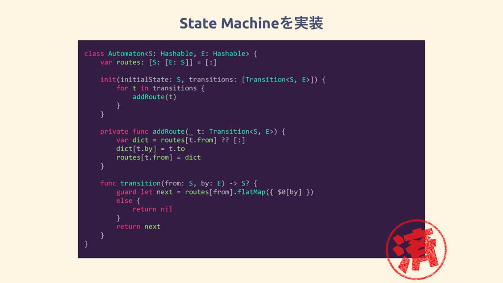 State MachineΛ࣮ class Automaton<S: Hashable, E...