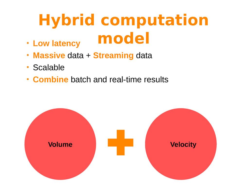 • Low latency • Massive data + Streaming data •...