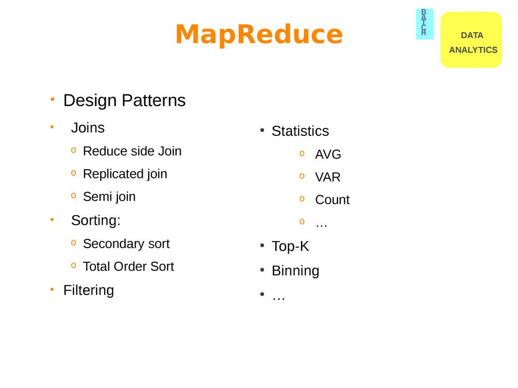 • Design Patterns • Joins o Reduce side Join o ...