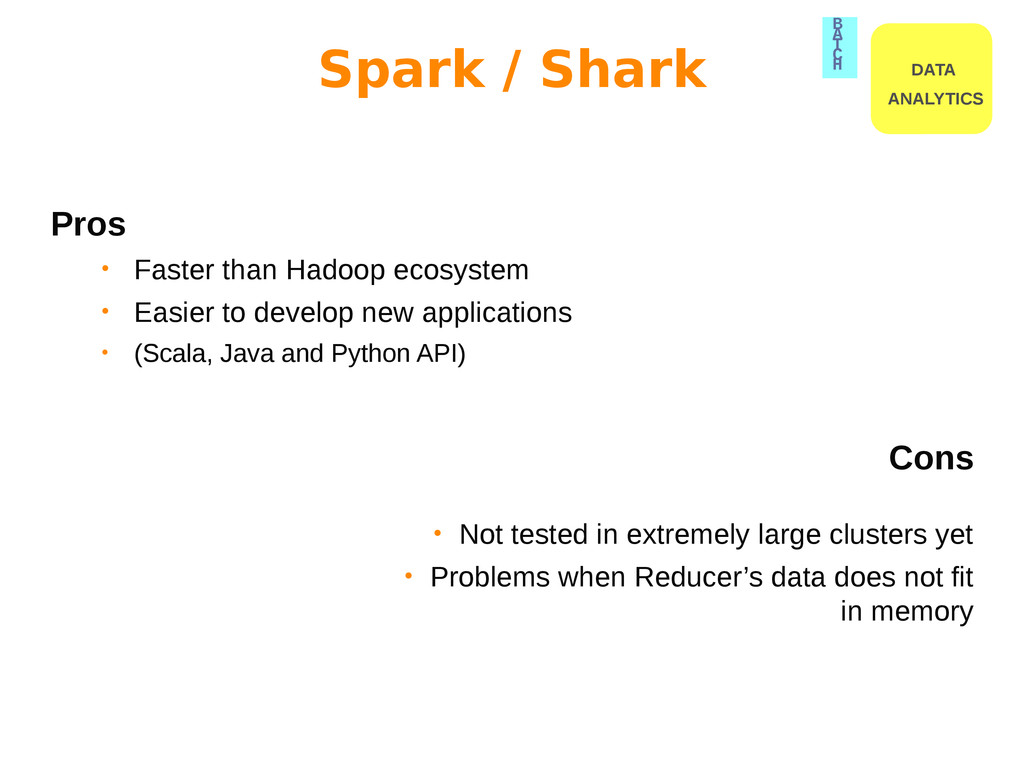 Pros • Faster than Hadoop ecosystem • Easier to...