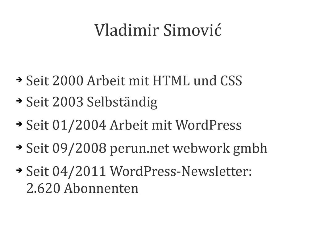 Vladimir Simović ➔ Seit 2000 Arbeit mit HTML un...