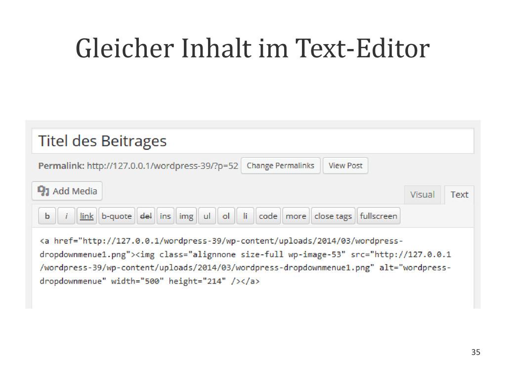 35 Gleicher Inhalt im Text-Editor