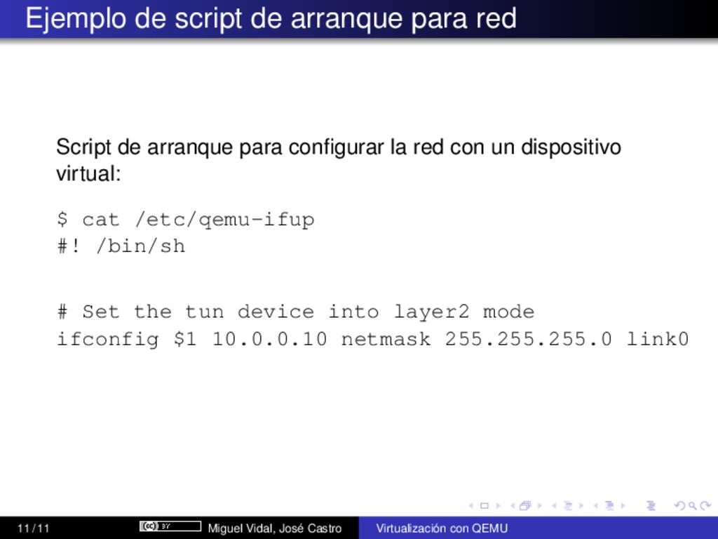 Ejemplo de script de arranque para red Script d...