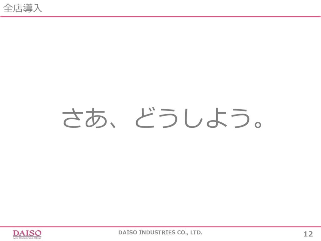全店導⼊ DAISO INDUSTRIES CO., LTD. 12 さあ、どうしよう。