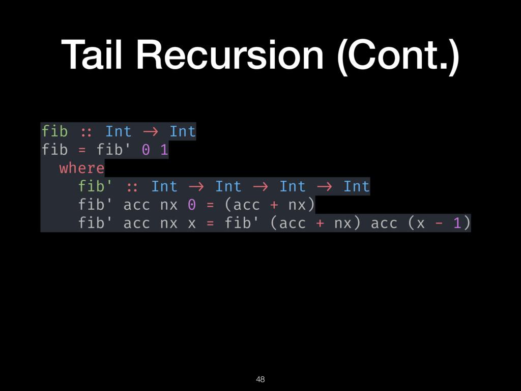 Tail Recursion (Cont.) fib :: Int -> Int fib = ...