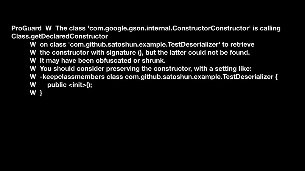 ProGuard W The class 'com.google.gson.internal....