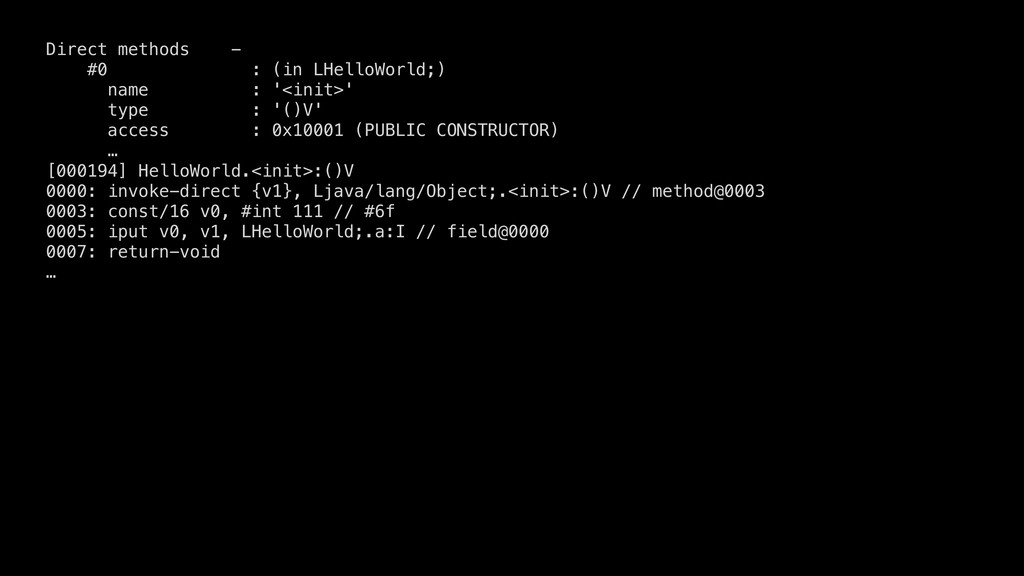 Direct methods - #0 : (in LHelloWorld;) name : ...