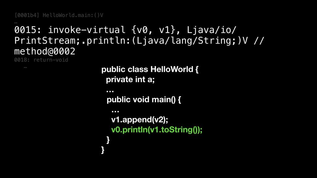 [0001b4] HelloWorld.main:()V … 0015: invoke-vir...