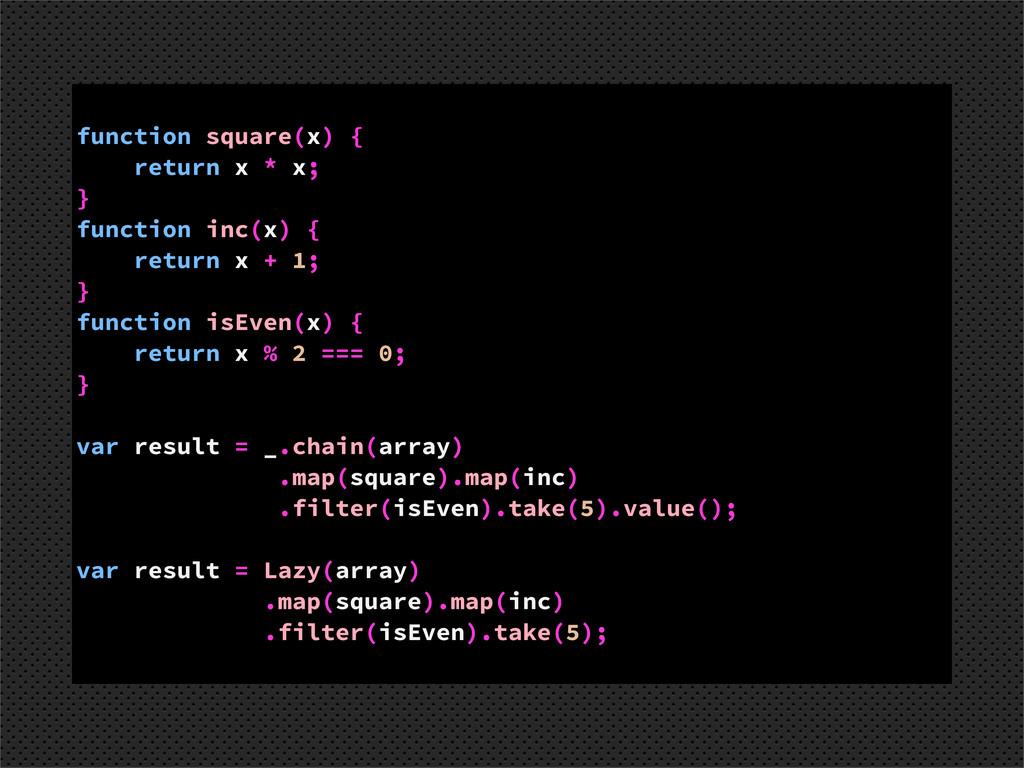 function square(x) { return x * x; } function i...