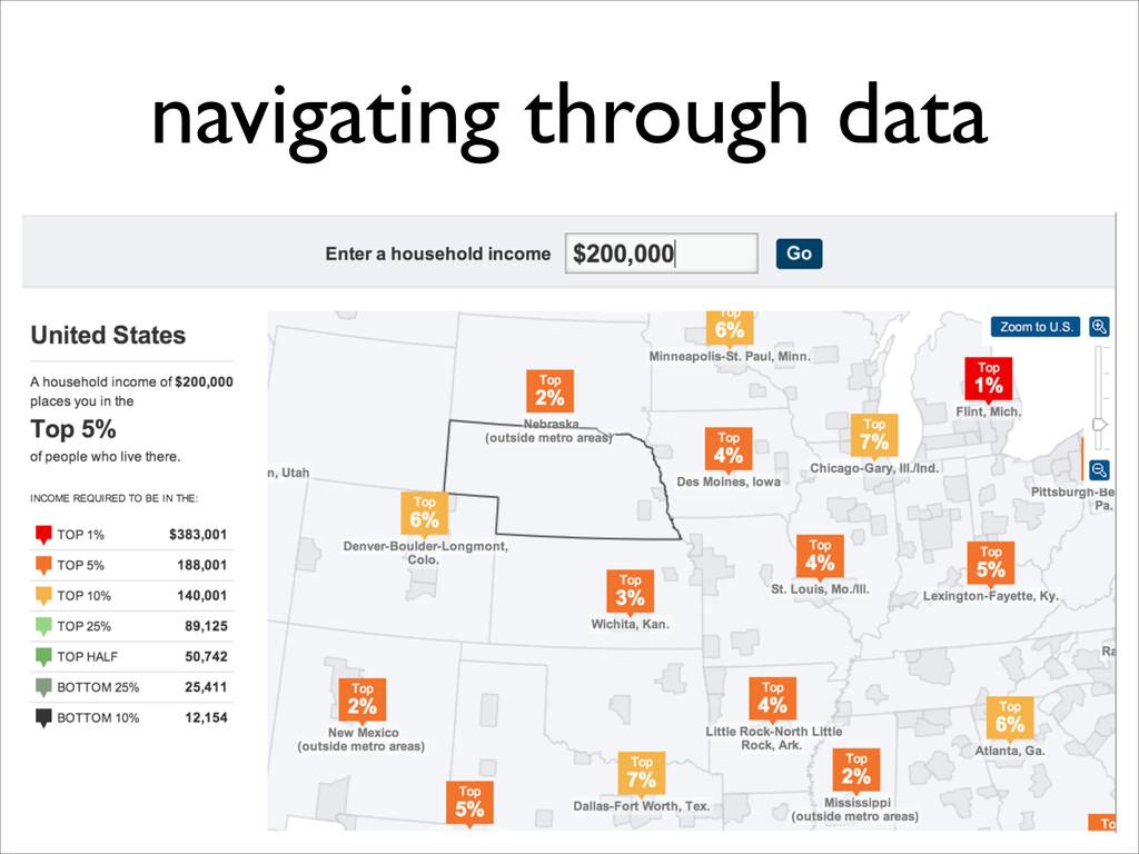 navigating through data
