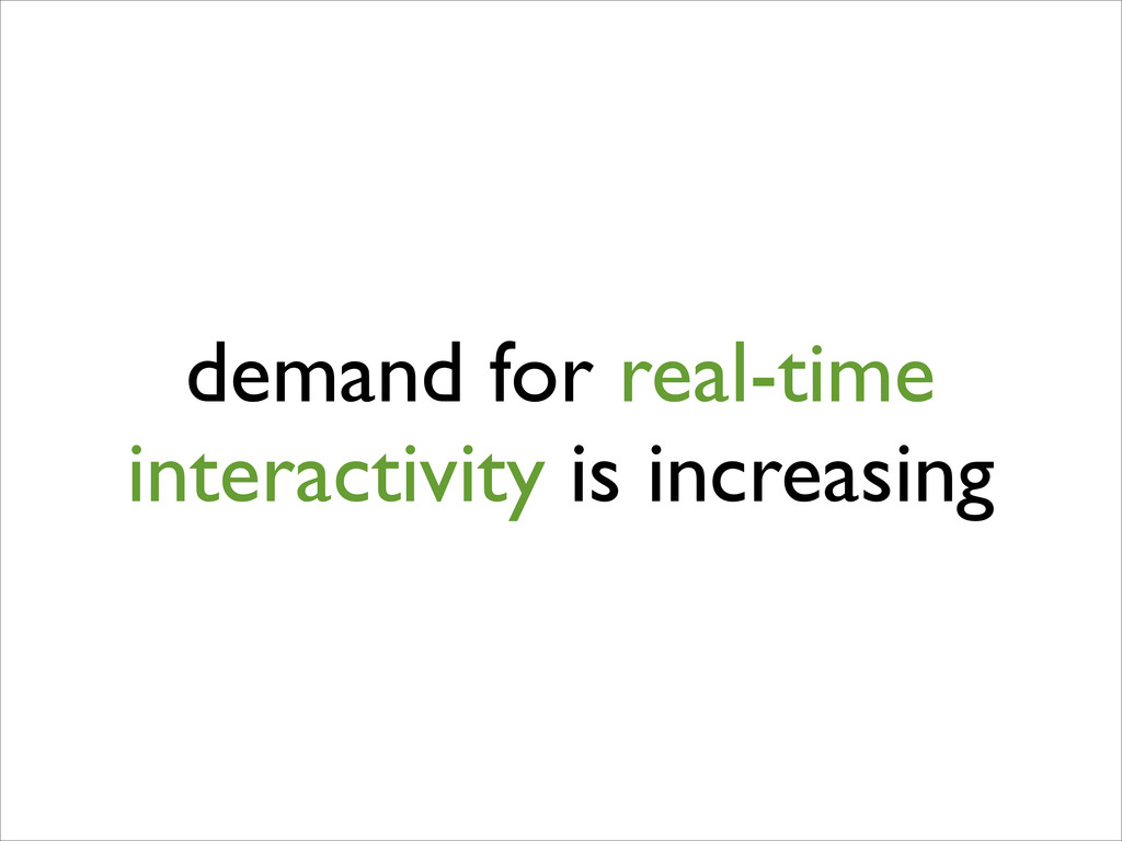 demand for real-time interactivity is increasing
