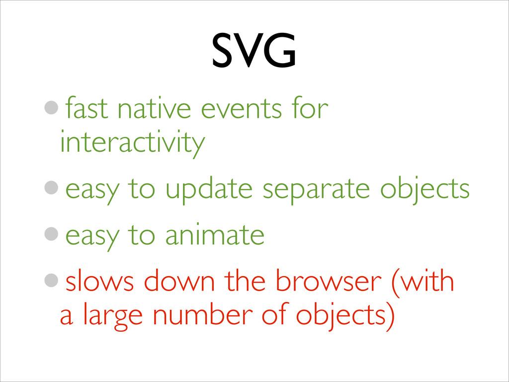 SVG •fast native events for interactivity  •e...