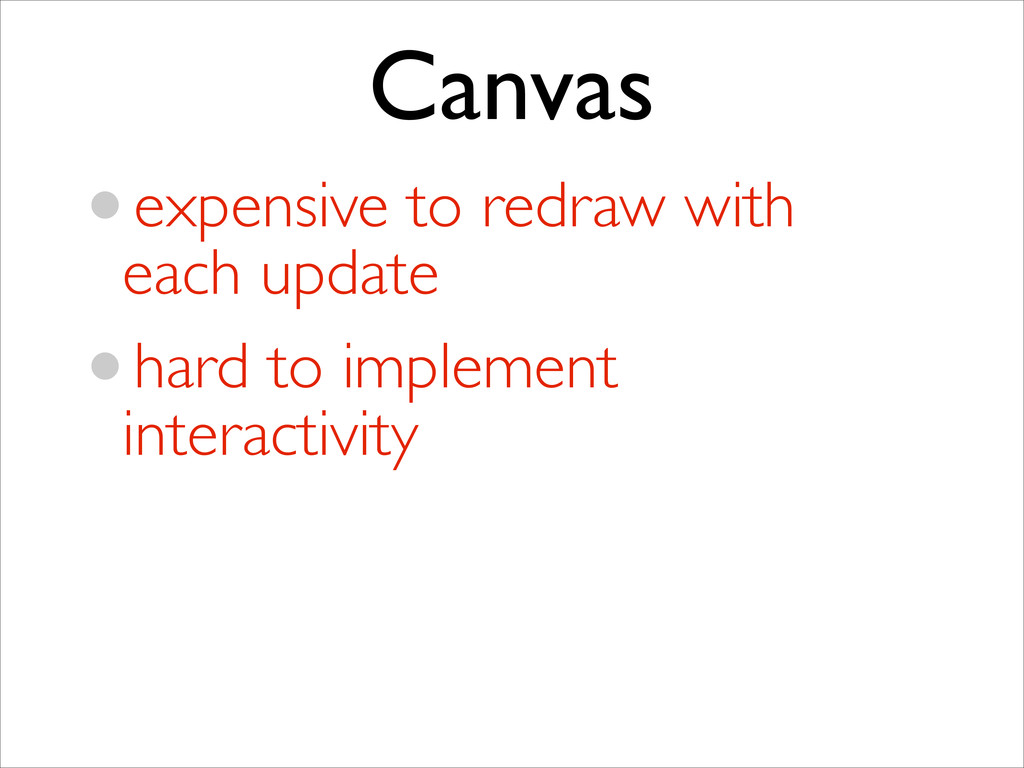 Canvas •expensive to redraw with each update ...