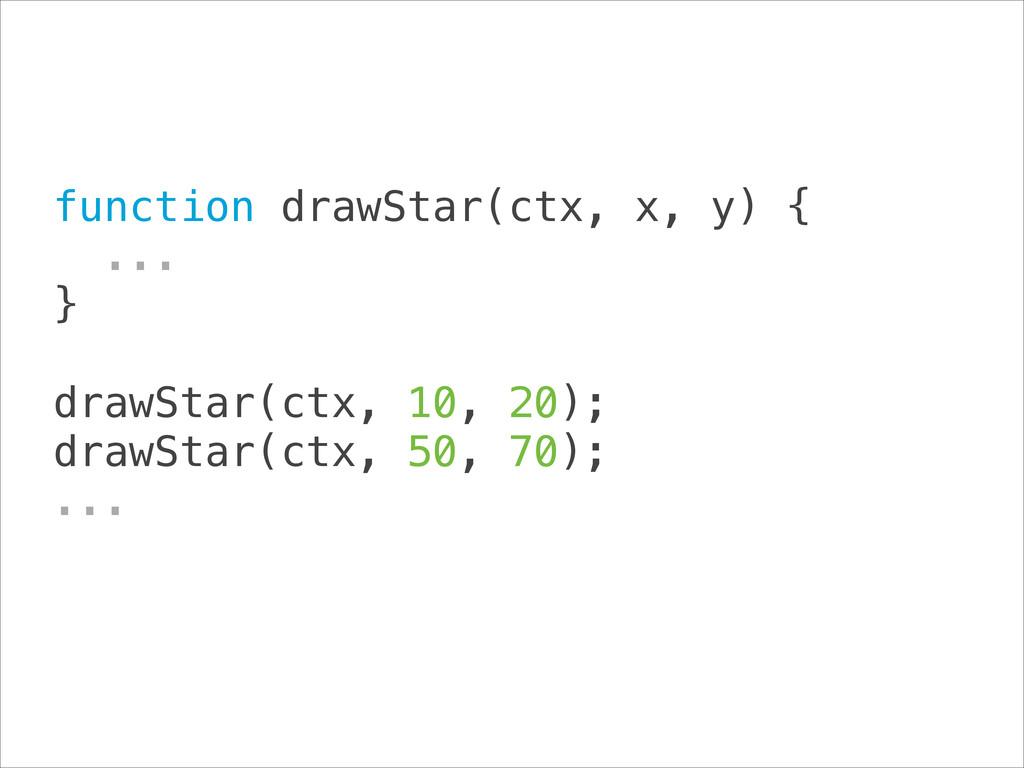 function drawStar(ctx, x, y) { ... } ! drawS...