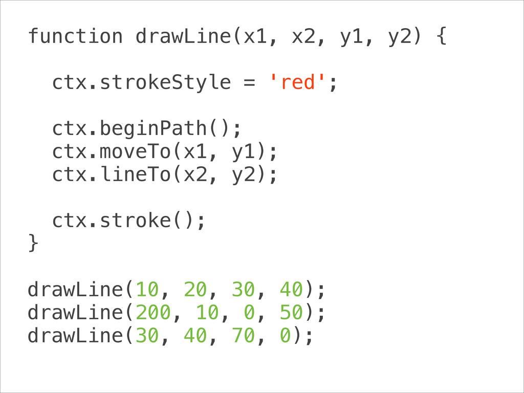 function drawLine(x1, x2, y1, y2) { ! ctx.stro...
