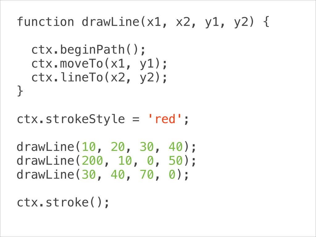 function drawLine(x1, x2, y1, y2) { ! ctx.begi...