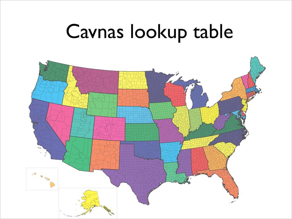Cavnas lookup table