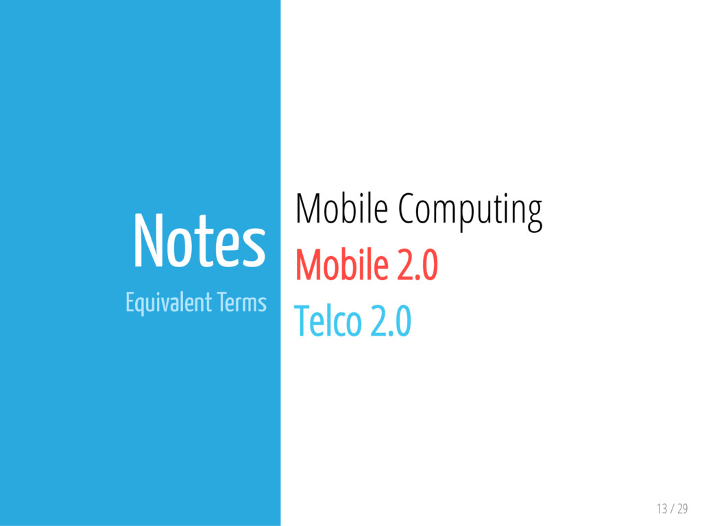 13 / 29 Notes Equivalent Terms Mobile Computing...