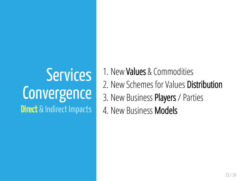 23 / 29 Services Convergence Direct & Indirect ...
