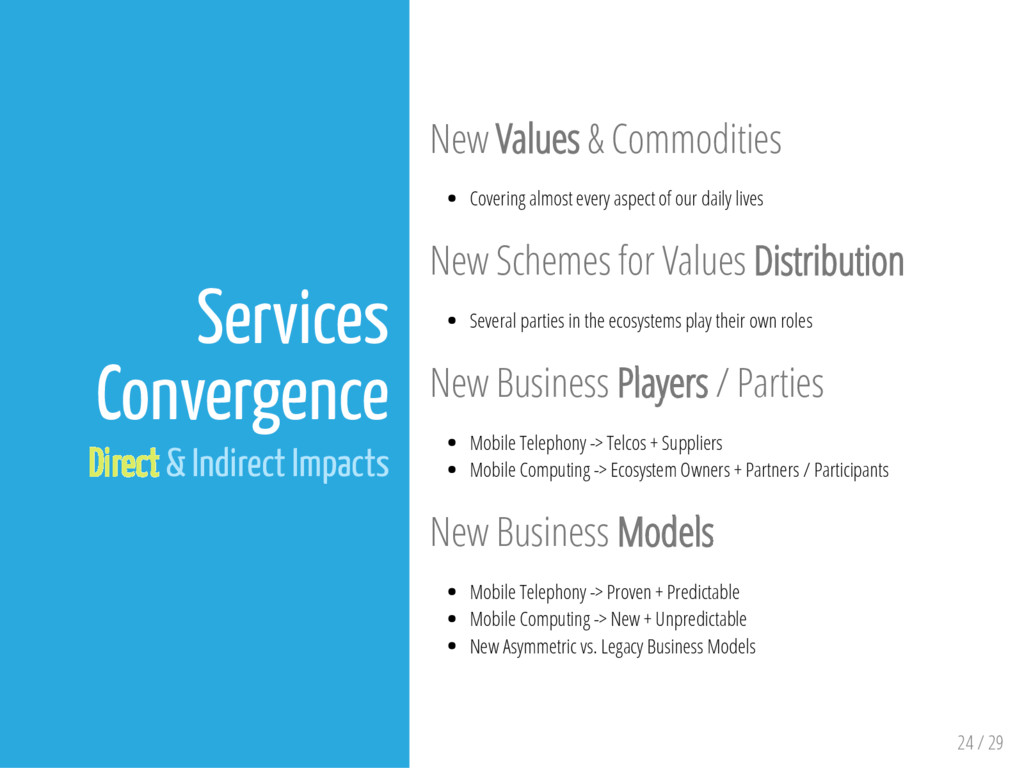24 / 29 Services Convergence Direct & Indirect ...