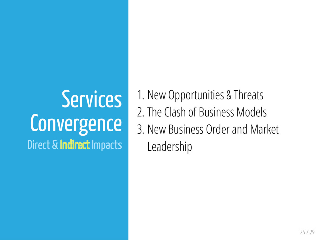 25 / 29 Services Convergence Direct & Indirect ...
