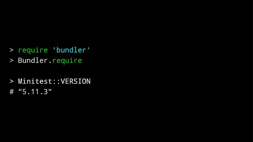 > require 'bundler' > Bundler.require > Minites...
