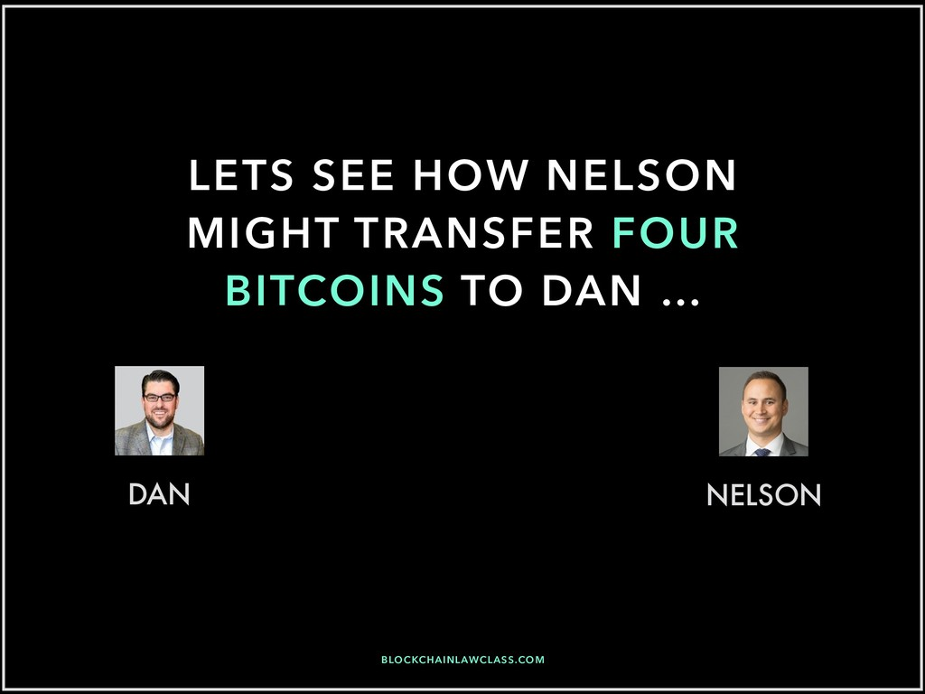 LETS SEE HOW NELSON MIGHT TRANSFER FOUR BITCOIN...