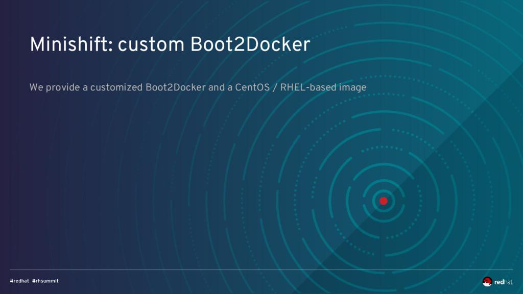 Minishift: custom Boot2Docker We provide a cust...