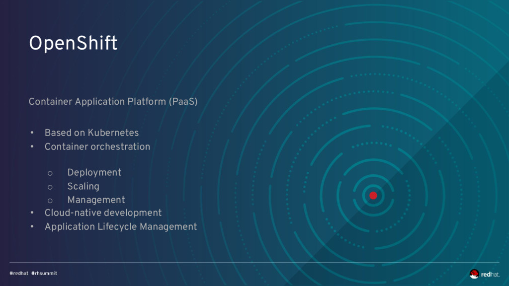 OpenShift Container Application Platform (PaaS)...