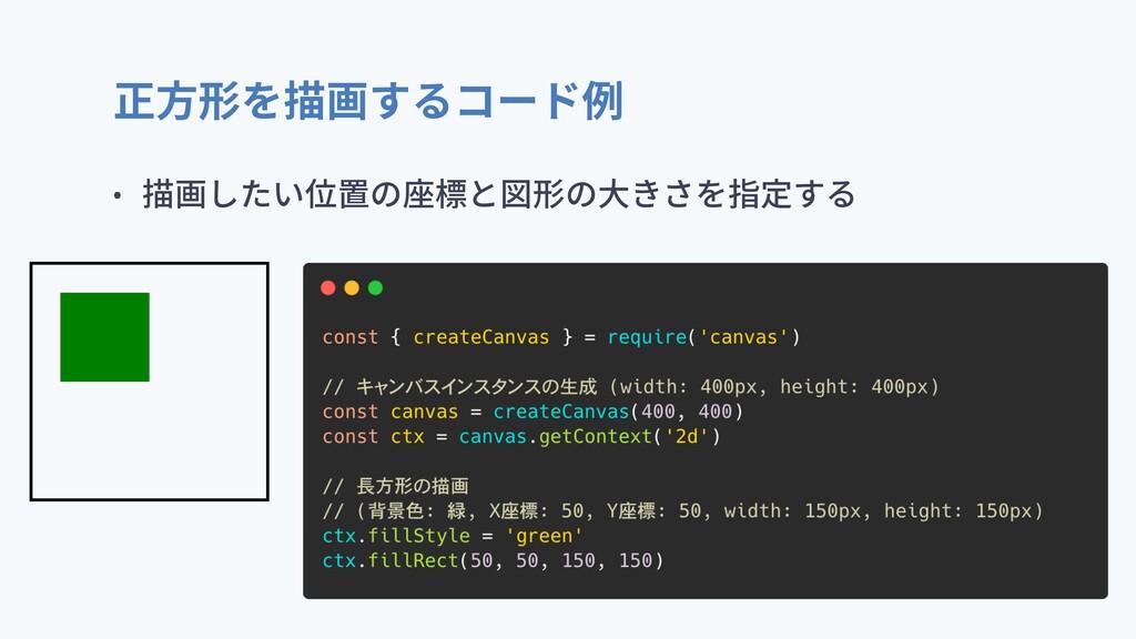 正⽅形を描画するコード例 • 描画したい位置の座標と図形の⼤きさを指定する