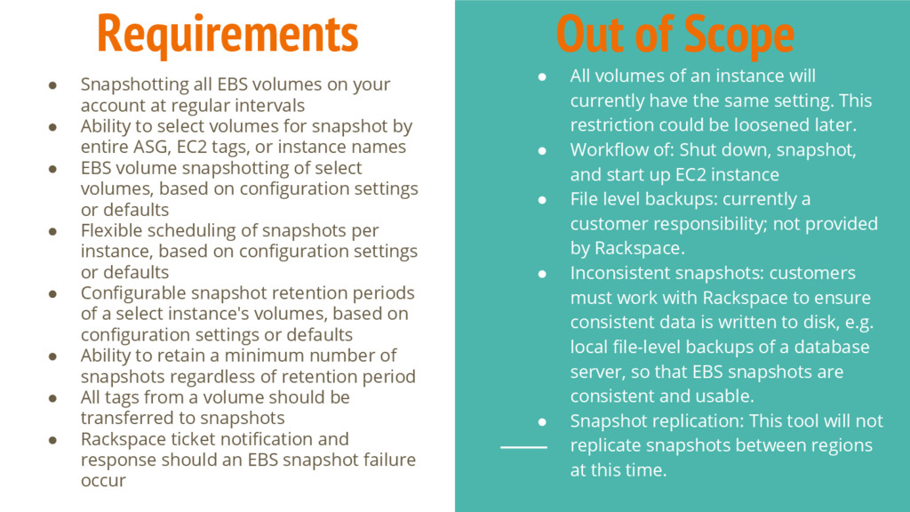 Requirements ● Snapshotting all EBS volumes on ...