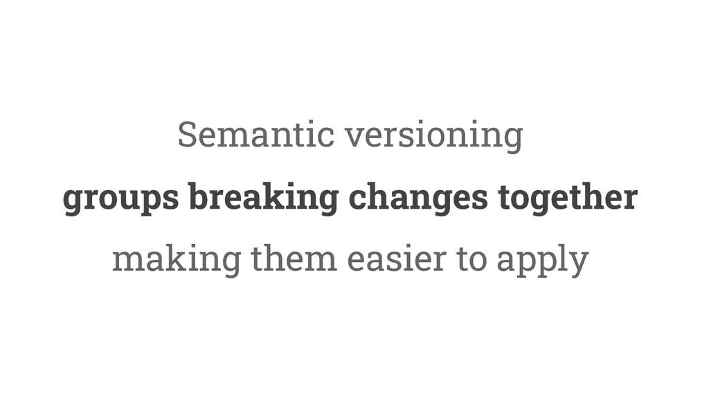 37 Semantic versioning groups breaking changes ...