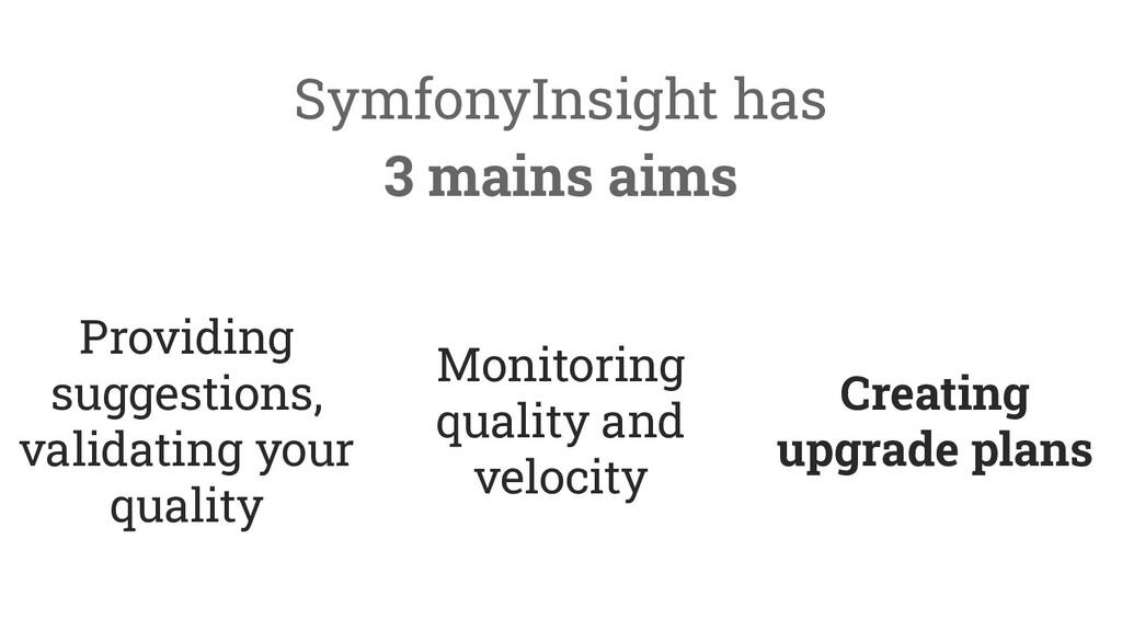 SymfonyInsight has 3 mains aims Providing sugge...