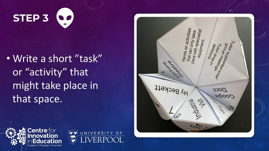 "STEP 3 • Write a short ""task"" or ""activity"" tha..."