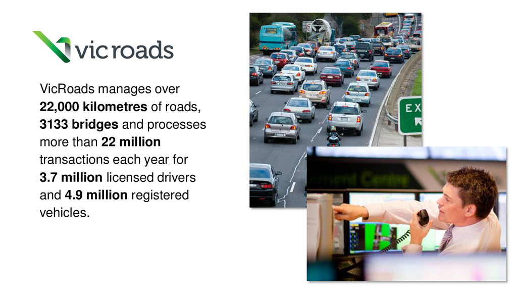 VicRoads manages over 22,000 kilometres of road...