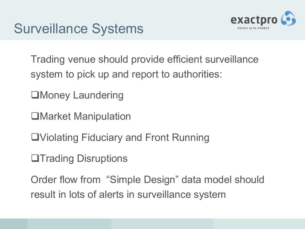Surveillance Systems Trading venue should provi...