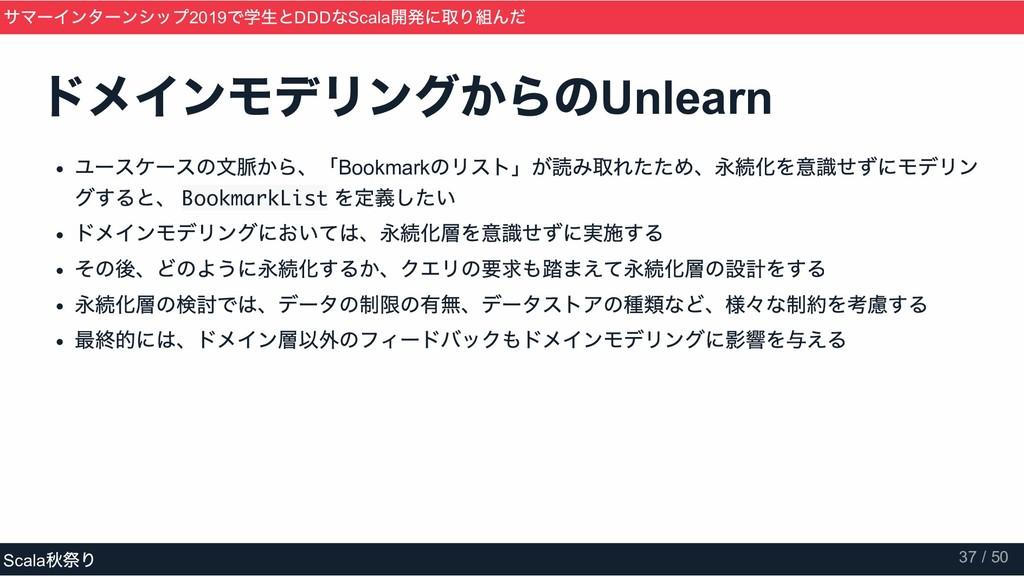 ドメインモデリングからの Unlearn ユースケースの文脈から、「Bookmark のリスト...