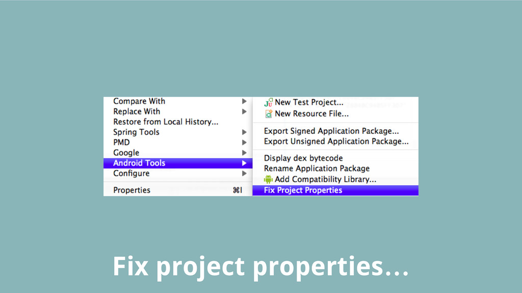 Fix project properties…